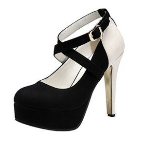 Strappy High Heeled Round Toe With Snakeskin Heel